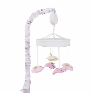 NoJo Watercolor Deer Nursery Crib Musical Mobile with Dimensional Felt Flowers, Pink/Taupe/Dusty Rose/Cream/Green