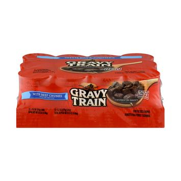 Gravy Train Chunks in Gravy with Beef Chunks Wet Dog Food, 13.2-Ounce Can