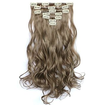 Kapmore Hair Extension Long Curly Hair Piece Heat Resistant Wig Womens Fashion Hair Piece with Clips