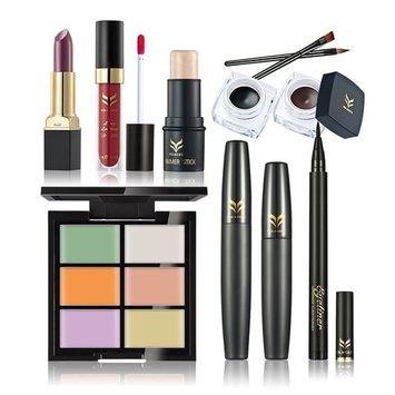 Huamianli 7Pcs Cosmetic Makeup Set Highlighter Shimmer Stick Concealer Lip Gross Eyeliner Gel Pen Lipstick Mascara