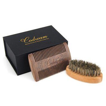 Codream Men's Shaving Set Sandalwood Beard Comb Boar Bristles Mustache Brush for Stylish Men