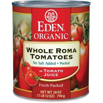 Eden Organic Eden Whole Tomatoes, Peeled, Organic, 28 Ounce (Pack of 6)
