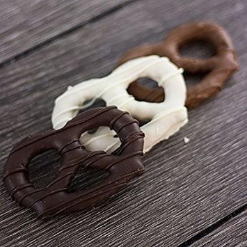 Chocolate Drizzled Large Pretzels, White, Milk & Dark Chocolate Covered Pretzels Mix, Sweet & Salty Lovers, Hand-Crafted in Small Batches, Made in USA,12 Pretzels [Dark, Milk and White Chocolate]