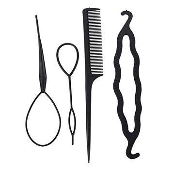 SODIAL(R)Women's 4Pcs Hair Twist Styling Clip Stick Bun Maker Braid Tool Black