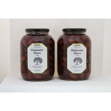 Parthenon Pitted Kalamata Olives in Brine with Red Wine Vinegar & Extra Virgin Olive Oil, 2-53 oz Pack