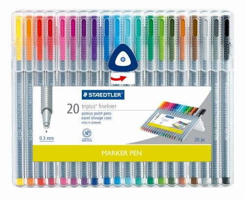 Staedtler(R) Triplus Fineliner Porous Point Pens, Fine Point, 0.3mm, Gray Barrel, Assorted Ink Colors, Pack Of 20