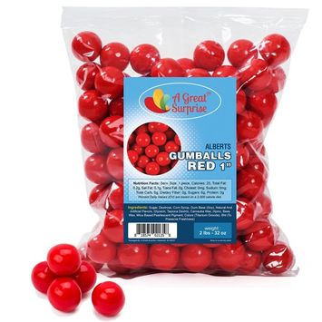 Gumballs in Bulk – Red Gumballs for Candy Buffet – Gumballs 1 Inch – Bulk Candy 2 LB [Red]