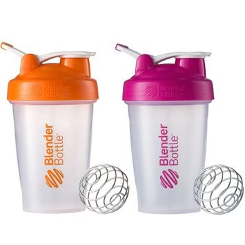 Blender Bottle 2-Pack Classic 20oz Shaker w/ Loop Top - Clear/Orng & Clear/Pink
