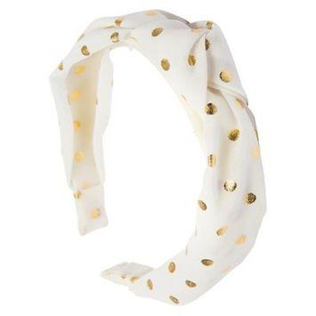 Ta-da™ Girls' Fabric-Knot Headband White Gold Polka Dot 1 ct