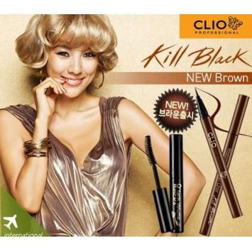 Clio Waterproof Brush Liner Set Plus Makeup Cleansing Oil, Kill Brown/002, 0.5 Ounce
