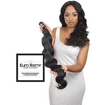 EURO REMY Brazilian Virgin 100% Unprocessed Human Hair Extensions - Weave - Body Wave - 1 Bundle - 22 inches Natural