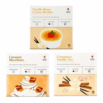 ARCHER FARMS Light Roast Coffee K-cups Variety Pack - 3 Flavors - Caramel Macchiato (18 Ct) + Vanilla Bean Crème Brulee (18 Ct) + Cinnamon Vanilla Nut (18 Ct) - Single Serving Pods 54 Cups of Joy