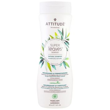 ATTITUDE, Super Leaves Science, Natural Shampoo, Nourishing & Strengthening, Grape Seed Oil & Olive Leaves, 16 oz (473 ml) [Scent : Grape Seed Oil & Olive Leaves]