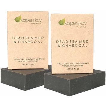 Dead Sea Mud Soap Bar With Activated Charcoal (2 Bar Pack) 100% Natural & Organic. With Therapeutic Grade Essential Oils. Face Soap or Body Soap. Chemical Free. Each Bar is 4.5 oz