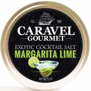 Caravel Gourmet Margarita Lime Exotic Cocktail Salt - All-Natural Glass Rimmer & Finishing Sea Salt, Blended & Infused with Lime Zest - No MSG, Non-GMO, Gluten-Free - 5 oz. Stackable Tin [Margarita Lime]