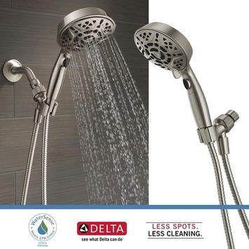 Delta Faucets 7-Spray Head Shower Head Handheld Dual H2Okinetic, Brushed Nickel