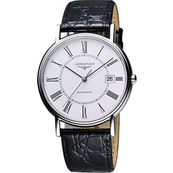 Presence Stainless Steel Automatic Leather Strap Watch