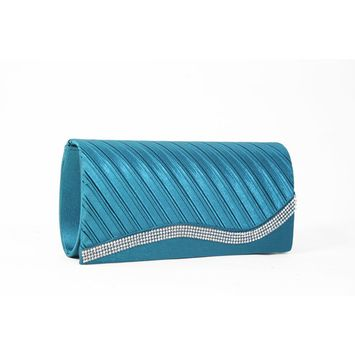Women's Pleated Satin Clutch Purse Handbag Adorned with Rhinestones