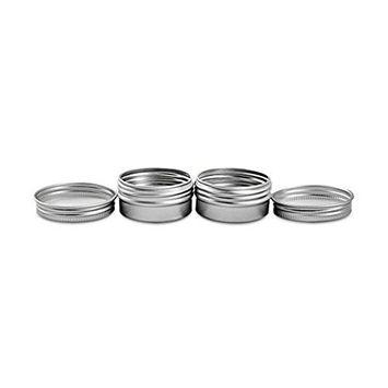 Goege 30ML (1 Fl Oz) Empty Round Jars with Screw Cap Lid Aluminium Tin Container