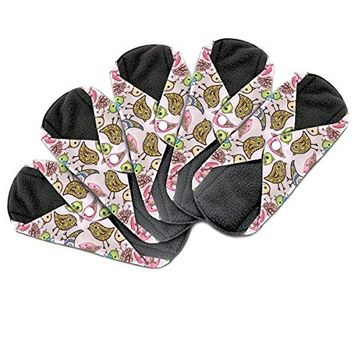 Dutchess Cloth Menstrual Pads - Bamboo Reusable Sanitary Napkins - Perfect for HEAVY Flow or OVERNIGHT - 5 Pack Set - With Double Layered Charcoal Absorbency Layer to Avoid Leaks, Odors and …