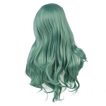 SODIAL(R) Fashion Women Girl Long Synthetic Hair Curly Wavy Wig Cosplay Party Full Wig green