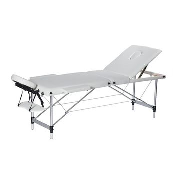 3 Section Folding Massage Table Portable SPA Tattoo Bed with Armrest Aluminum Frame (24'' Width, White)