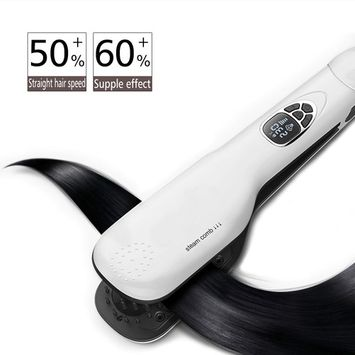 Bestmall Electric Hair Straightening Brush Hair Straightener Steam Double Plate Clip Fast Detangling Steam Comb