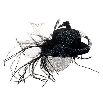 SODIAL(R) Feather 2 Hair Clips Bow Black Mini Top Hat Party Lolita Cosplay Goth