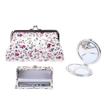 Kloud City Women's Set of 3 Floral Cosmetic Organizer Kiss-Lock Clasp Clutch Purse Butterfly Closure Mirror Snap Button Lipstick Case (White)