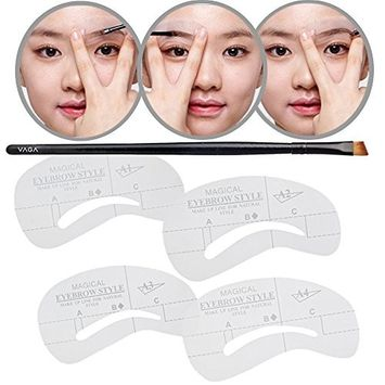 Makeup Kit Make Up Set With Cosmetic Angled Eyebrow Brush and Eye Brow Shaping Stencils / Shapers / Templates for Grooming
