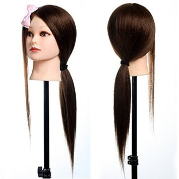 Neverland Beauty Pro 22Inch Long 70% Real Human Hair Hairdressing Equipment Mannequin Training Head For College and Professional Use 1808A