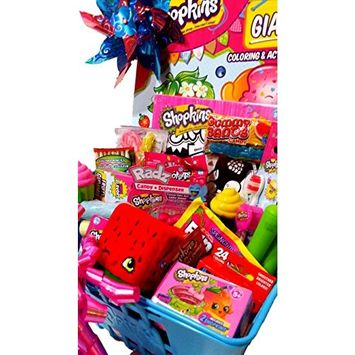 Shopkins Gift Basket; Authentic Shopkins Shopping Basket Loaded with Shopkins Toys, Candy & Treats. Jumbo Shopkins Gift Basket for Birthday, Christmas, Get Well, Thinking of You!