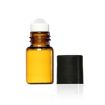 Grand Parfums 3ml, 3/4 Dram Amber Glass Mini Roll-on Glass Bottles with Premium Glass Roller Balls - Refillable Aromatherapy Essential Oil Roll On