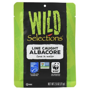(6 Pack) Wild Selections Line Caught Albacore Tuna Fish Pouch, 2.5 Ounce