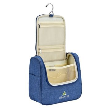Travel Hanging Toiletry Bag by Hikenture | Cosmetics, Makeup and Toiletries Organizer | Compact Bathroom Storage | TSA Friendly | Home, Gym, Airplane, Hotel, Car Use(Blue)