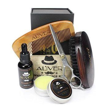 Fheaven Men's Beauty Set Beard Hair Growth Liquid +Beard Wax+Comb+Brush+Scissors Strength Nourish