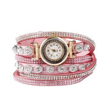 Unbrand - Women Fashion Casual Decor Round Rhinestone Bracelet Watch TOYS2