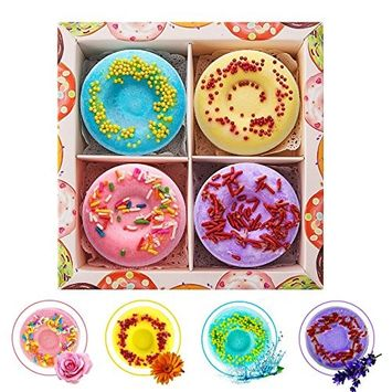 Welltop Bath Bombs Gift Set 4 Packs Natural Donut Fizzies Spa Kit Handmade Organic Spa Bomb Ideal Gift for Women, Men, Girls, Children, Mom, Wife
