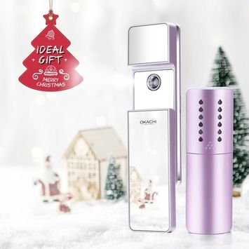 OKACHI GLIYA Portable Nano-Ionic Mist Spray Cool Sprayer Hydrating Refresh Soft Skin Mister Mini Humectant Beauty Skin Care Tool Water Spa with Mirror...