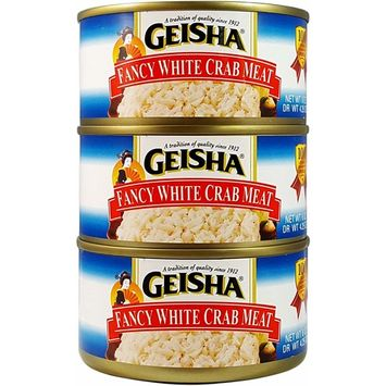 Fancy White Crab Meat, Wild Caught (Pack of 3), 6 oz Can - Geisha