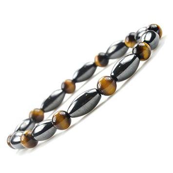 Men Women Fashion Jewelry Hematite Tiger Eyes Magnetic Therapy Stretch Bracelets