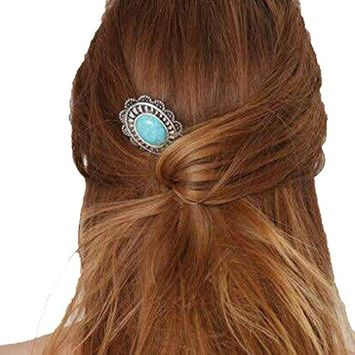 Usstore 1PC Women Girls Retro Turquoise Alloy Sunflower Barrette Hair Pin Comb Tools Hair Accessories