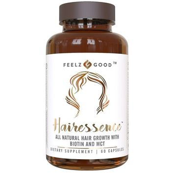 HAIRESSENCE All Natural Hair Growth Biotin Vitamin Formula - Stronger Healthier Hair. Scientifically Formulated w/ MCT Vitamin B Copper & more - Supplement For All Hair Types - Veggie Capsules