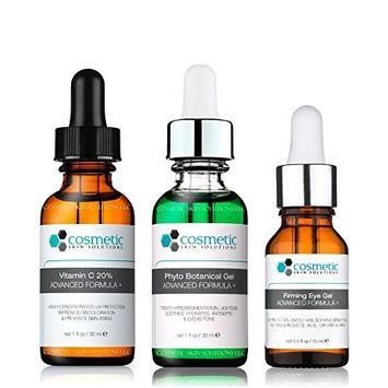Vitamin C 20% serum + Phyto + Botanical Gel + Firming Eye Gel Advanced Formula +. Prevent/Lighten & Hydrate/Firm Eyes - 3 Combo Pack - 1 fl oz / 30 ml each.