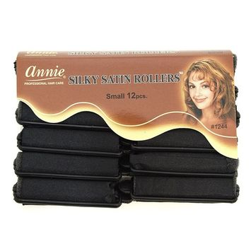 Annie Silky Satin Foam Rollers #1244, 12 Count Black Small 5/8 Inch