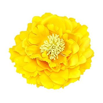 Peony Flower Hairpins Clips (Yellow)
