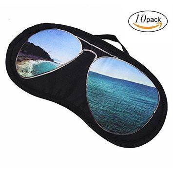 Bhbuy 10pcs Eye Mask Shade Sunglasses Cover Blindfold Travel Sleeping Aid Random Color