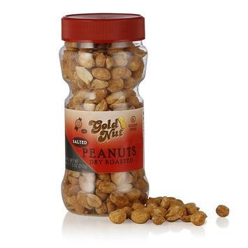 Dry Roasted Salted Peanuts - No Oil Roast - Shelled - Vacuum Packed for Freshness - Kosher - 7.5oz - By Gold Nut