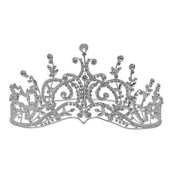 Futuron Girls Silver Glitter Rhinestone Leaf Shape Accent Headpiece