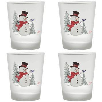15 oz. Snowman Frosted Tapered Double Old-Fashioned Glass